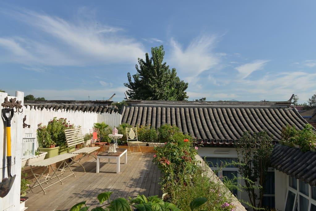 下午在充满阳光和花草的天台喝杯下午茶,吃点小点心度过您美好时光