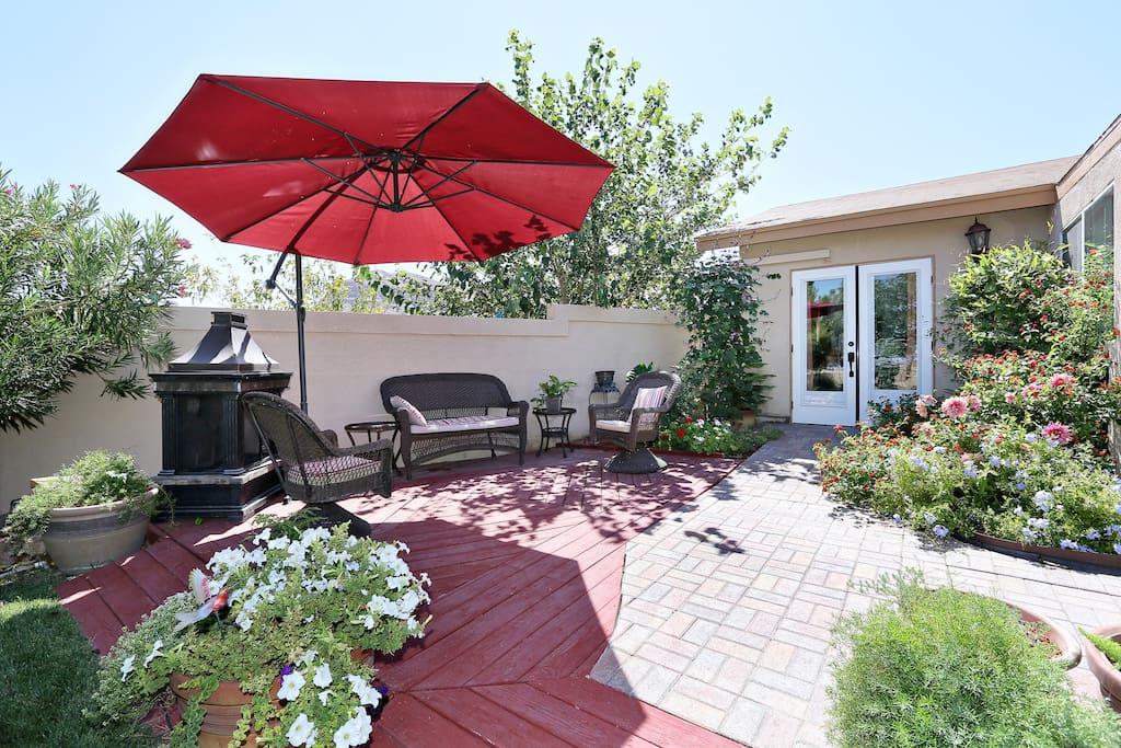 Deck just outside living room overlooking garden