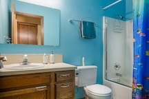 Your own, private bath, organic towels, shampoo and toiletries in case you forgot some are included. Washer and dryer are available for guests.