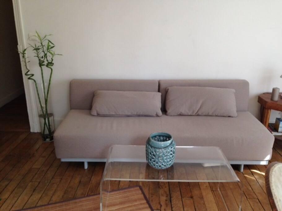 Salon avec canapé lit 2 personnes
