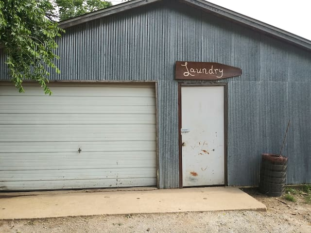 Communal laundry mat in the garage at the old country house!