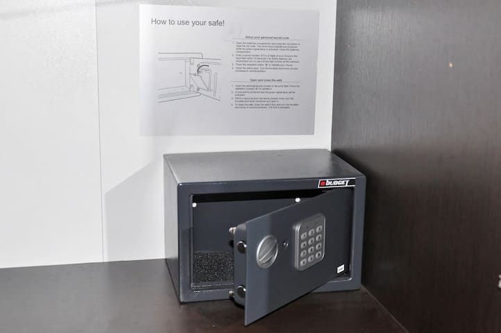 Your private safe box with a combination.
