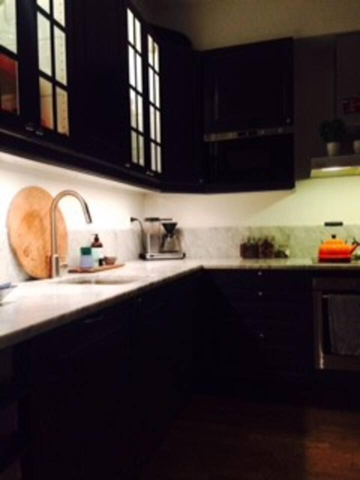 Marble tops, Mocca Master cafe, induction stove et al