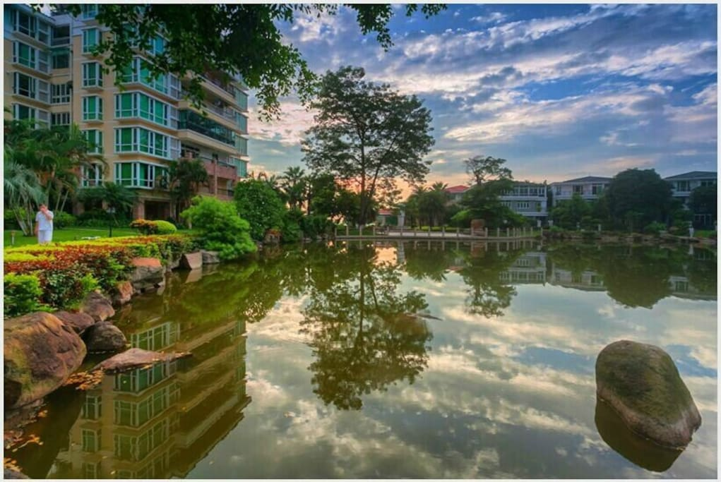 Apartment overlooking the pond.
