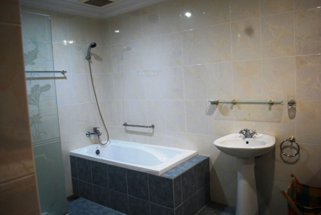 long bath, shower and toilet with dressing area