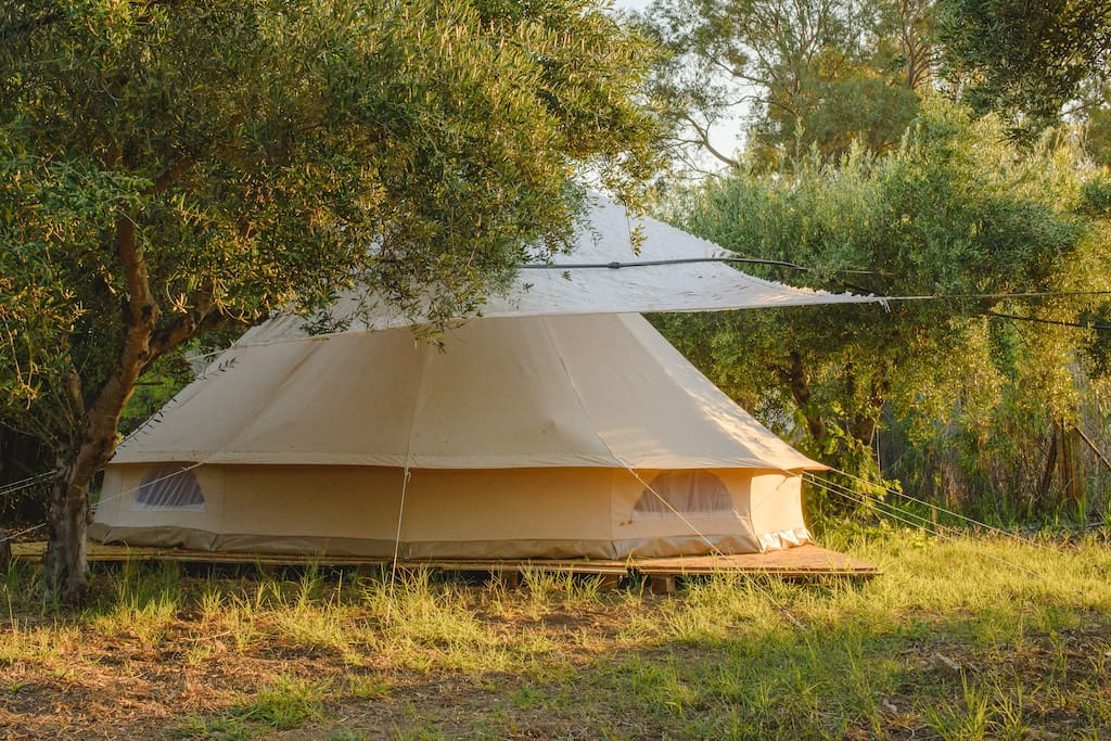 The backside of the bell tent