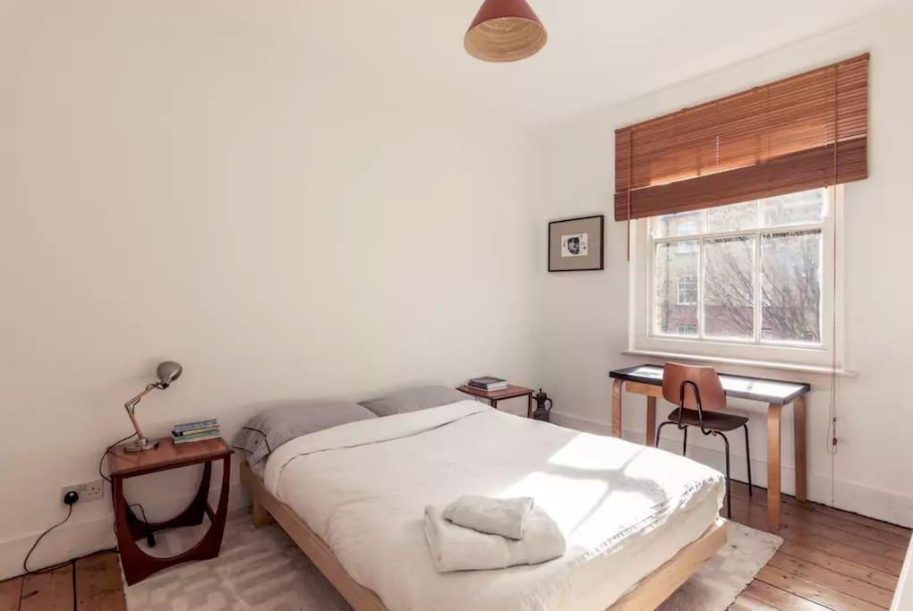Bedroom with comfortable queen bed