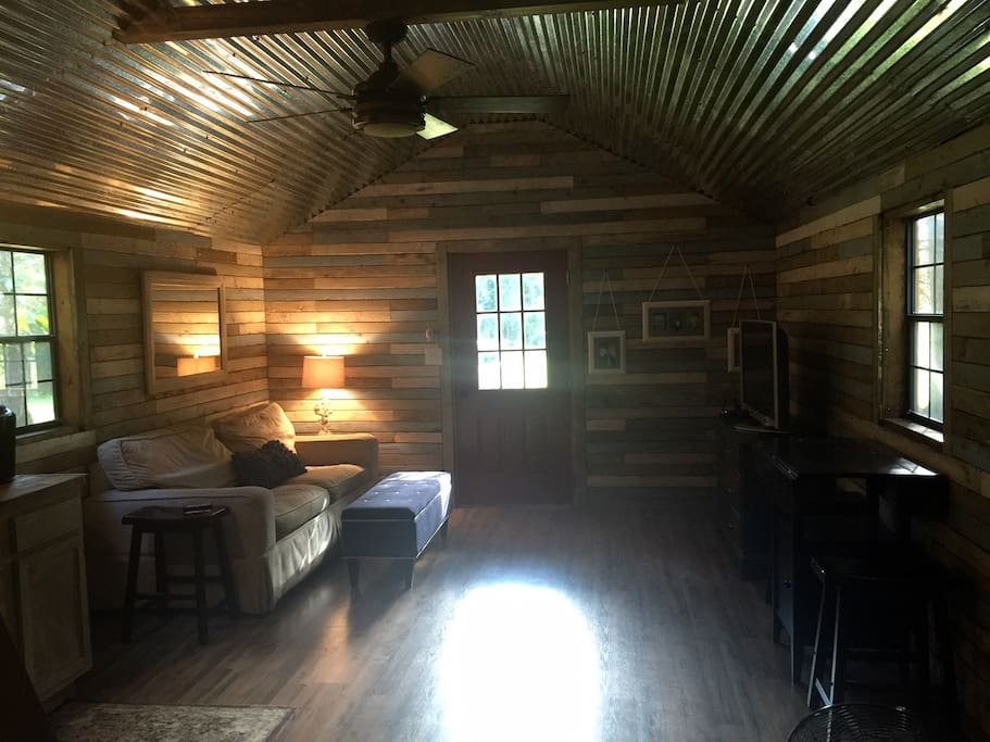 One room studio cabin with a loft
