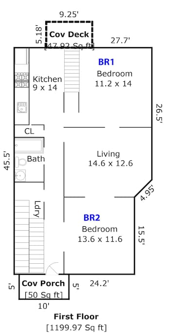 Downstairs Floor plan: 2 Bedroom, 1 full bath with tub/shower combo