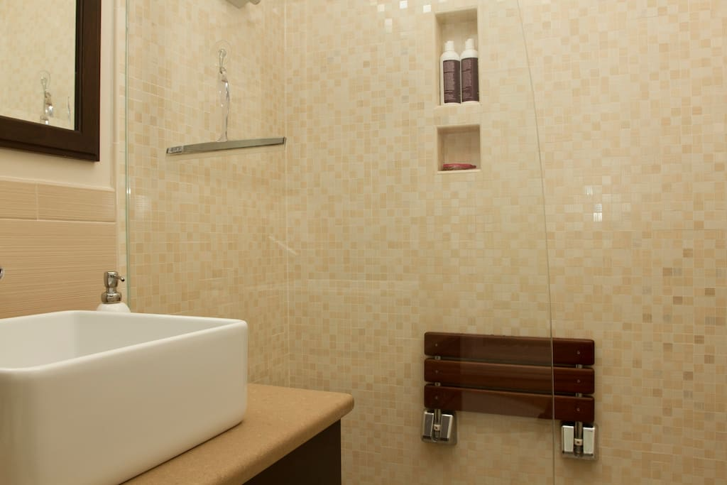 Great shower head, Italian custom tiles, and shower seat