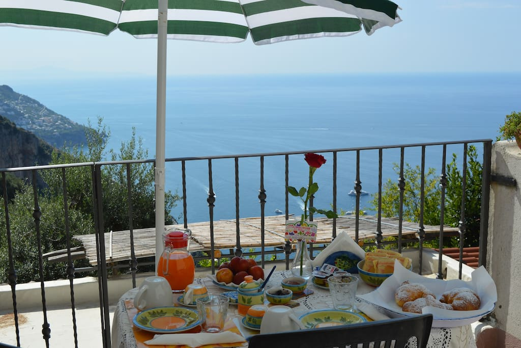 Our delicious breakfast on the terrace sea view!