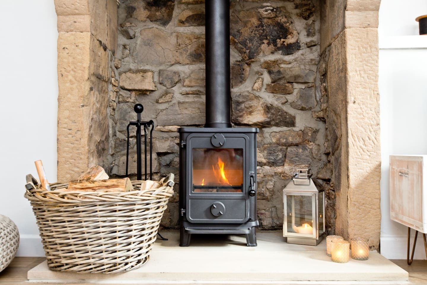 Log burner and traditional fireplace