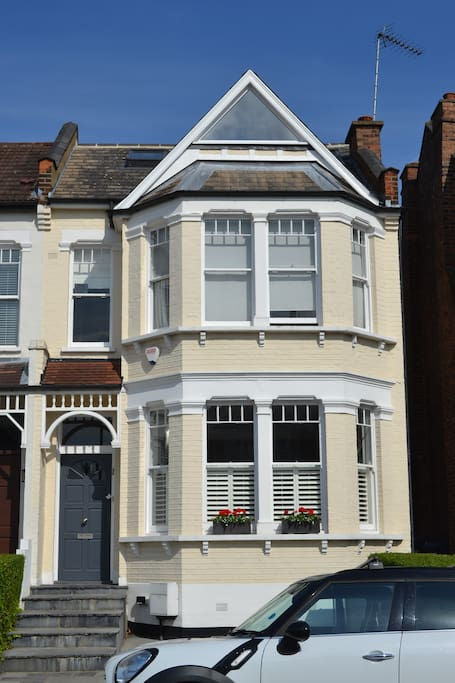 Front of house, dining room / lounge (downstairs bay window), master ensuite (upstairs bay window), large single bedroom (triangle window)