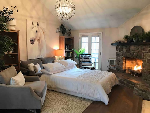 Living room bed option for additional guests or a cozy spot for you to enjoy the fireplace.
