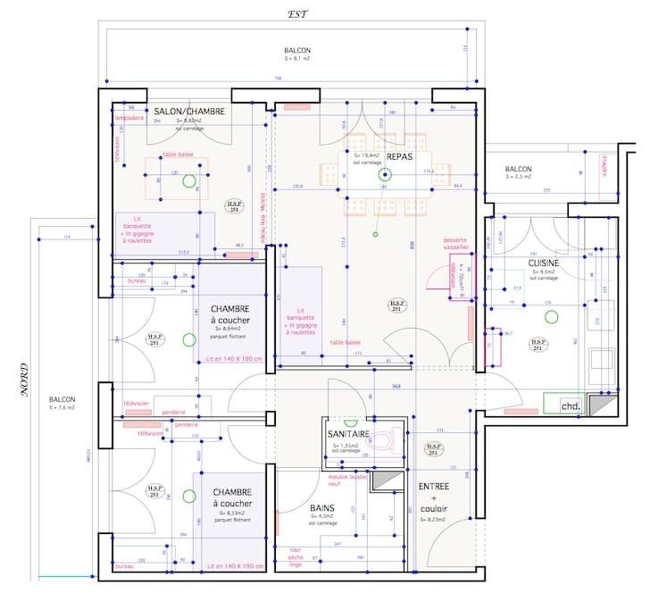 Le plan de l'appartement : à gauche les chambres donnant sur le parc.