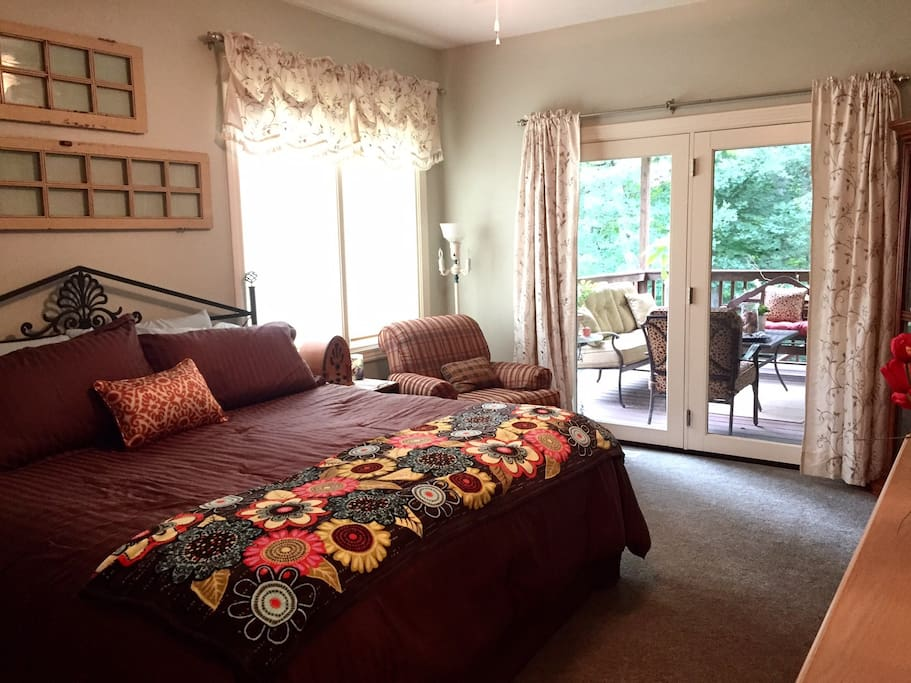 Large bright suite with King, Sleep Number bed. Enjoy time on the deck that adjoins the suite.