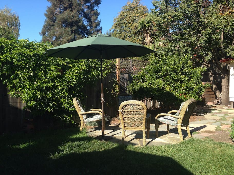 Central private seating area in the backyard