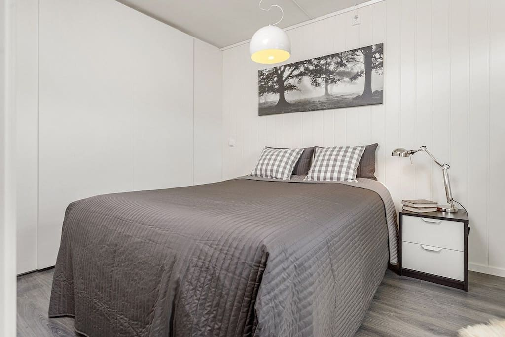 The bedroom is spacious and equipped with a queen size bed