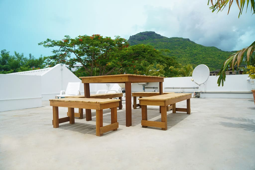 View of the rooftop facing La Mivoie Mountain. The ideal place to chill after a long day at the beach.