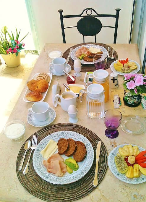 Enjoy your breakfast at the private balcony