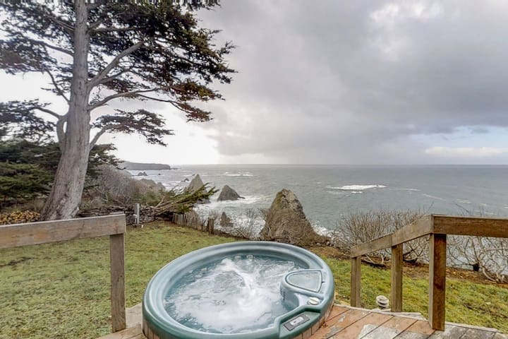 Gorgeous, dog-friendly, oceanfront home w/private hot tub & spectacular views
