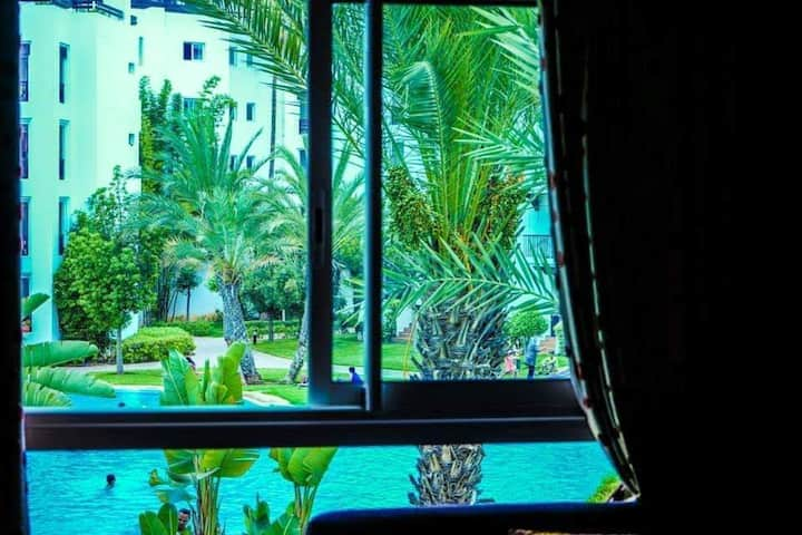 Apartment with 2 bedrooms in Agadir, with wonderful city view, shared pool, enclosed garden