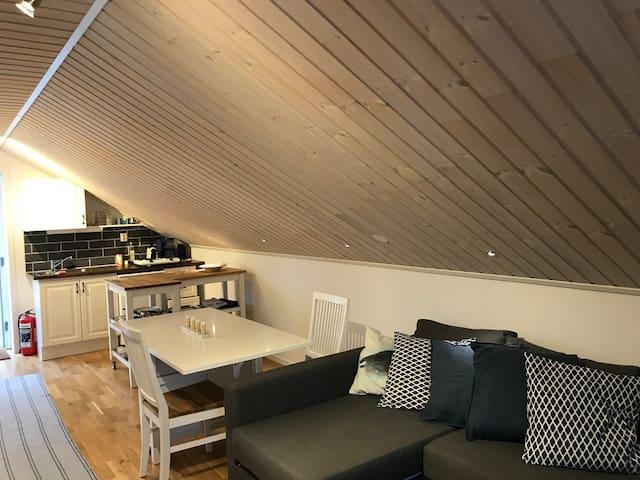 Fin lägenhet med egen ingång nära naturen.