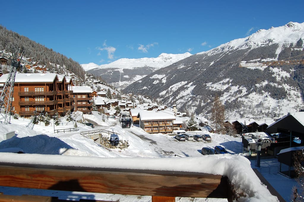 View from balcony over piste and village