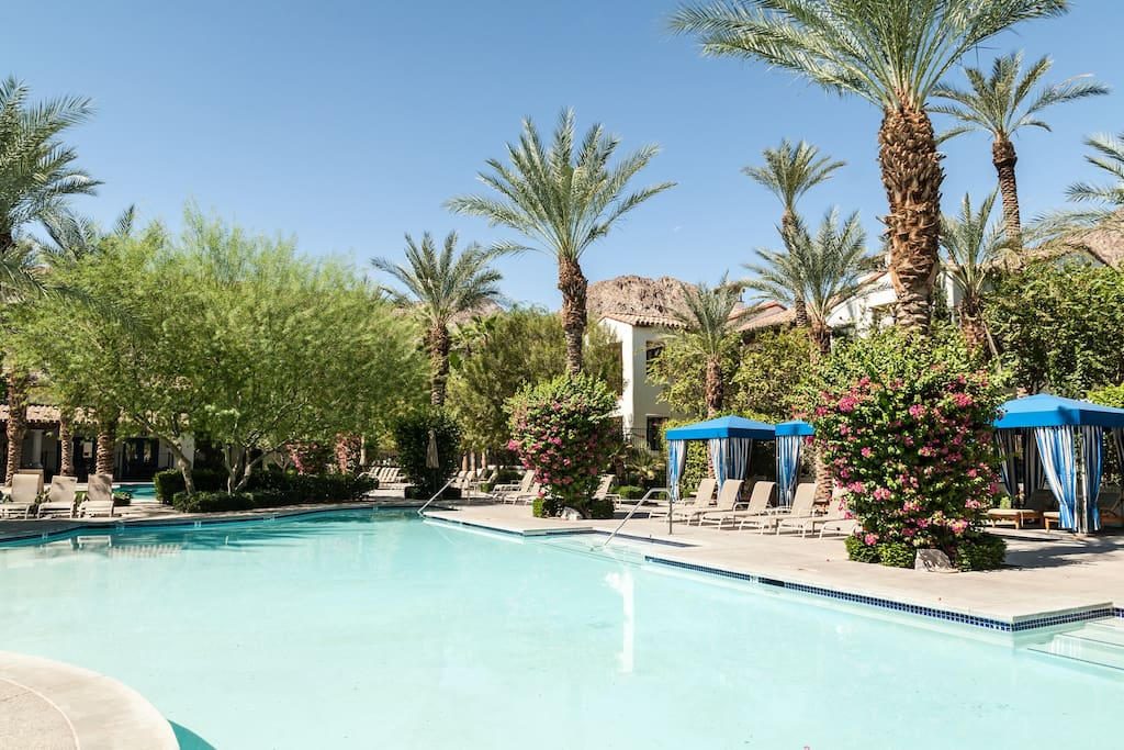 Relax in the Cabanas by the pool as you rent our luxury furnished villas in La Quinta California
