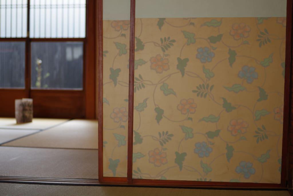 an antiqu paper in the fusuma.