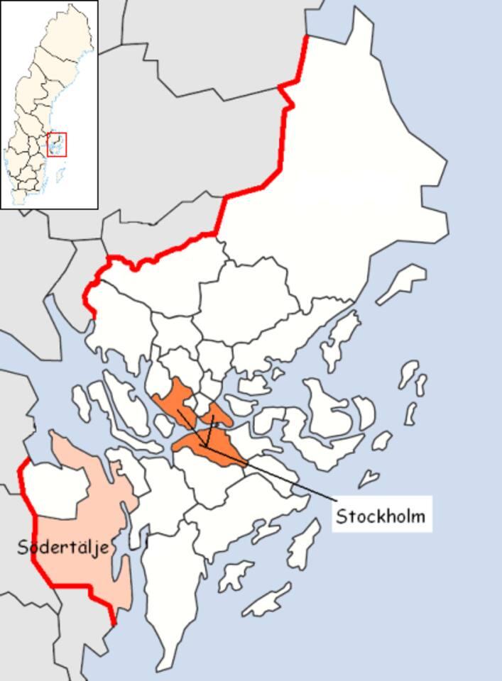 Location of the town Södertälje in Stockholm County