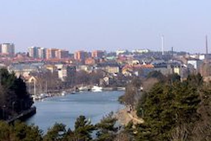 Södertälje from Saltsjöbron. Outer Maren with its guestharbour and the old steamship, Ejdern, still running.