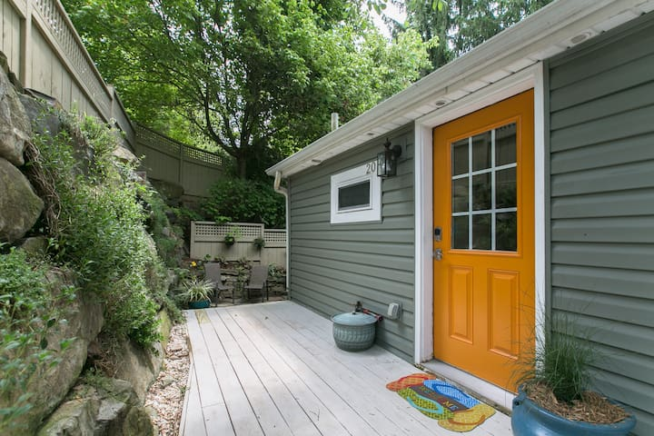 Private Entrance and Deck to Front of the Cottage (Orange Door is Owner's Entrance)