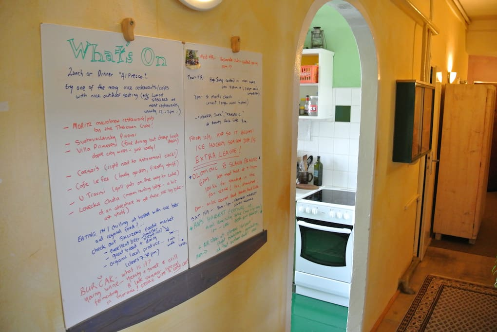 Our 'Whats On' board details events on in town and tips for enjoying your stay.