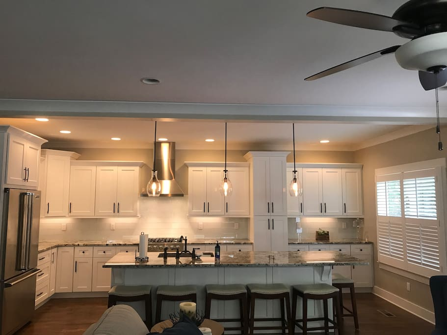 Extra large kitchen with seating for 6 around the island.  Perfect place to entertain.