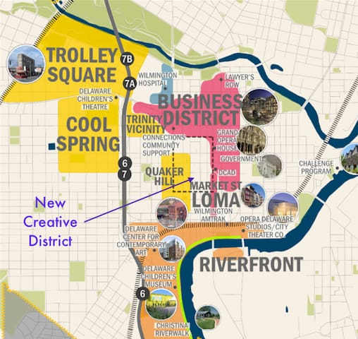 Short walk to business district and riverfront.