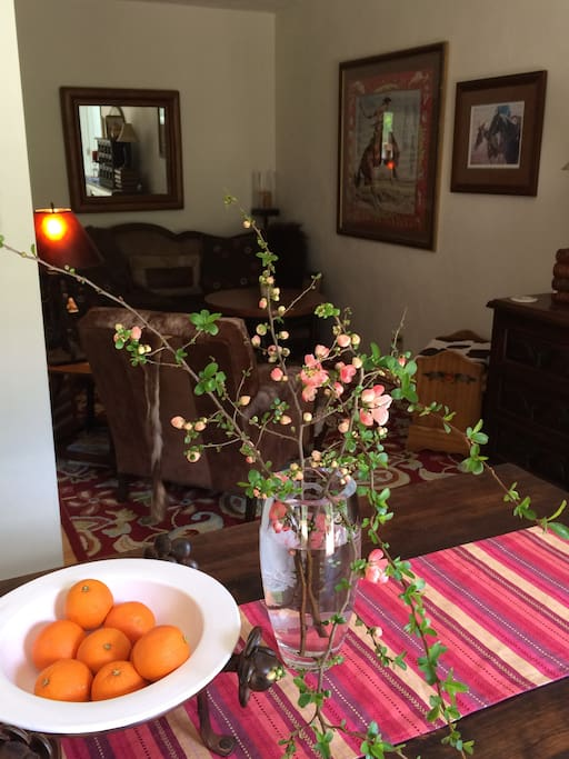 flowering quince at the DR table