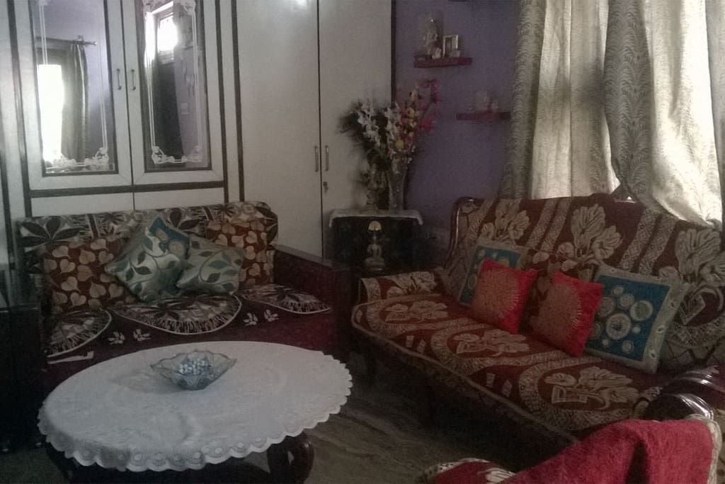 specious attached living room with vintage couch set