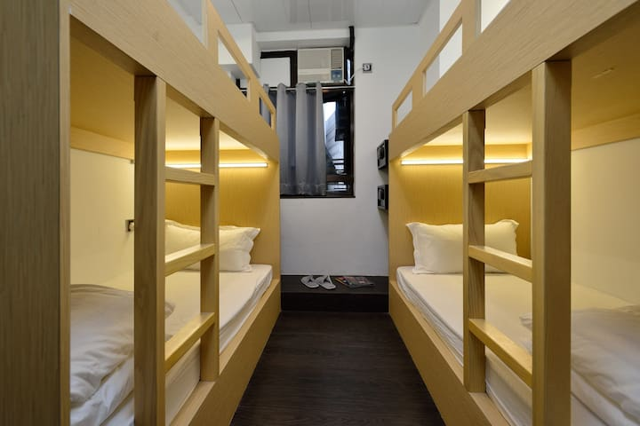 The 4-bed Bunk Dorm Room is perfect for backpackers, families, or friends traveling together- group bookings available!