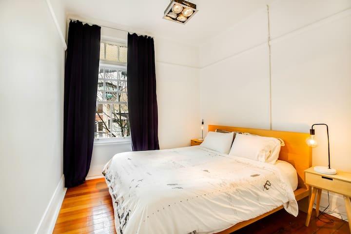 """Master bedroom, with luxury """"Koala"""" super king bed & lush heavy velvet curtains"""