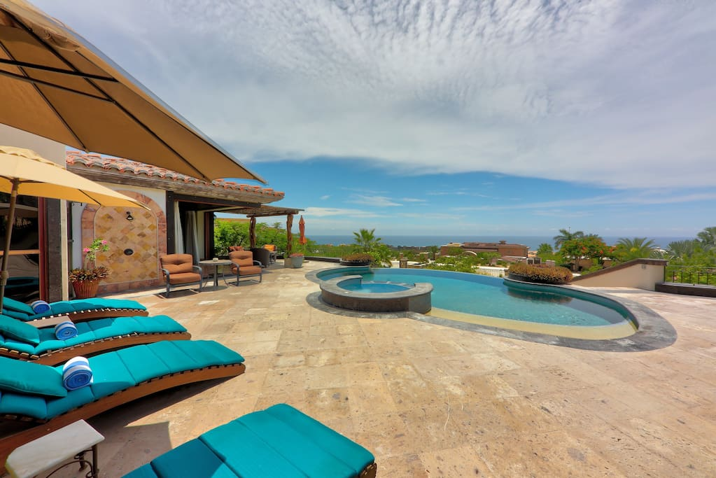 Walk out patio with private pool and jacuzzi.