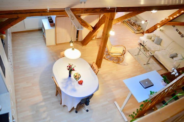 Ruhiges und herziges Dachzimmer im Zentrum Riehen