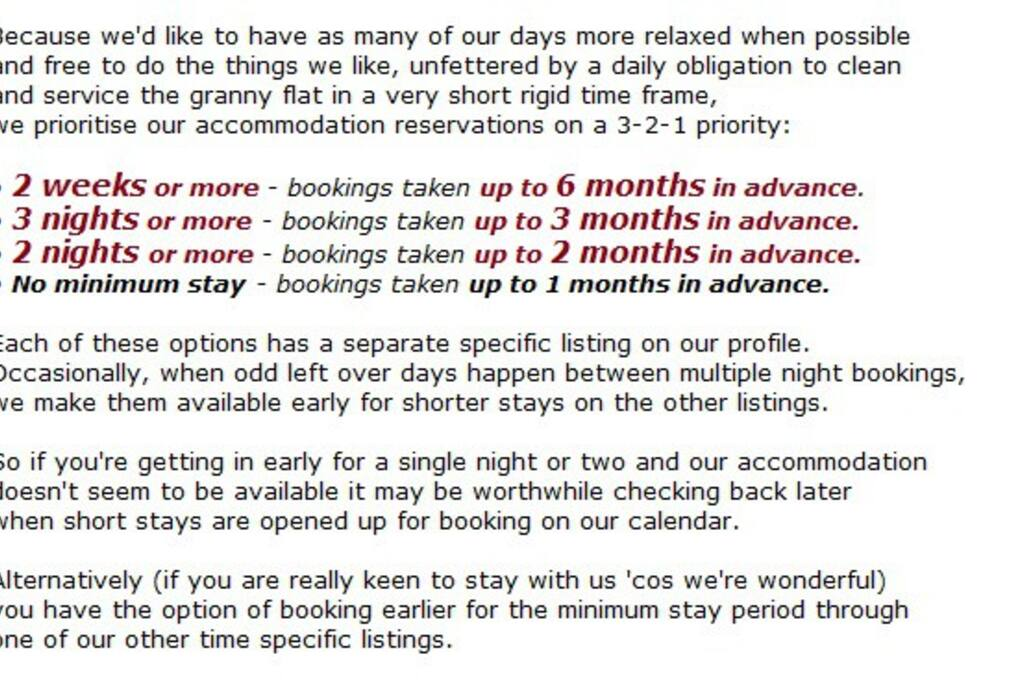 Booking reservation policy.