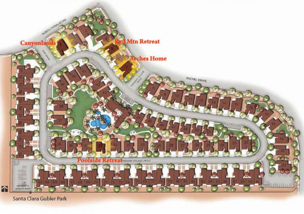 Village map showing location of all 4 homes within the village