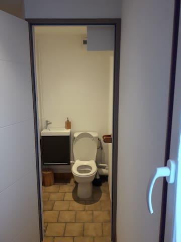 toilette avec papiers et lave main avec savon