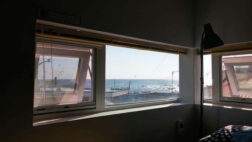 <카페앤라씨하우스001> 바다앞 다락방침대에서 일출을 보아요~^ 작지만 아름다운 숙소.
