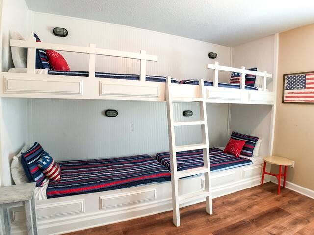 Spacious twin over twin bunk beds