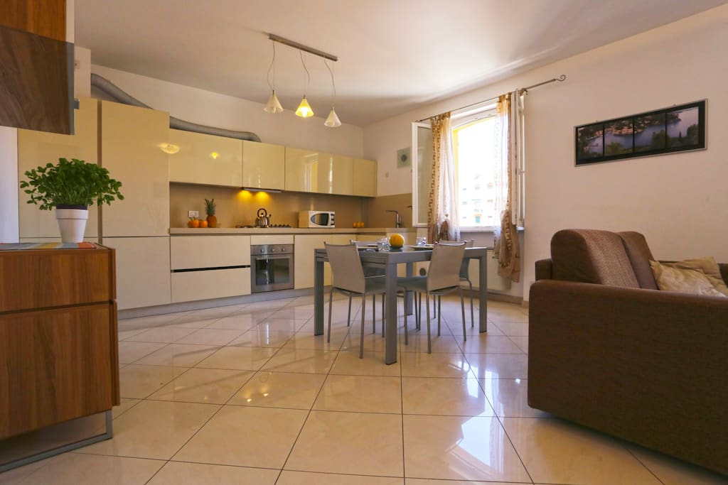 Living with lounge, dining area and american style well equipped kitchen