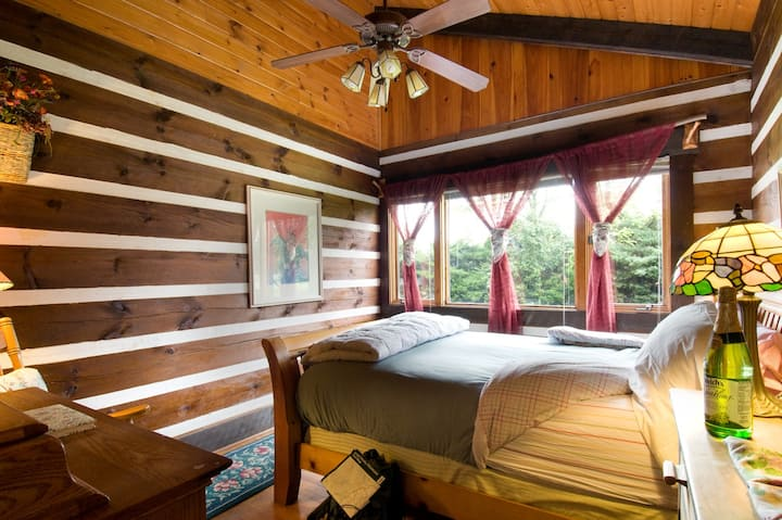 Mountains-private bath, Log lodge, queen bed