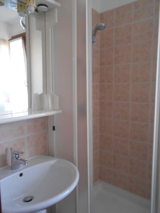 Bagno interno alla camera con doccia e phon